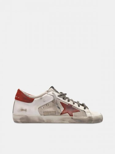White Superstar sneakers in leather with red star