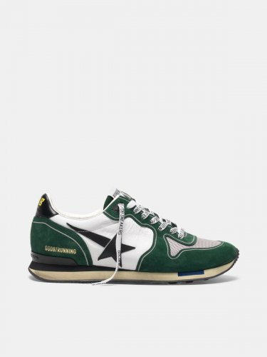 White and green Running sneakers in suede