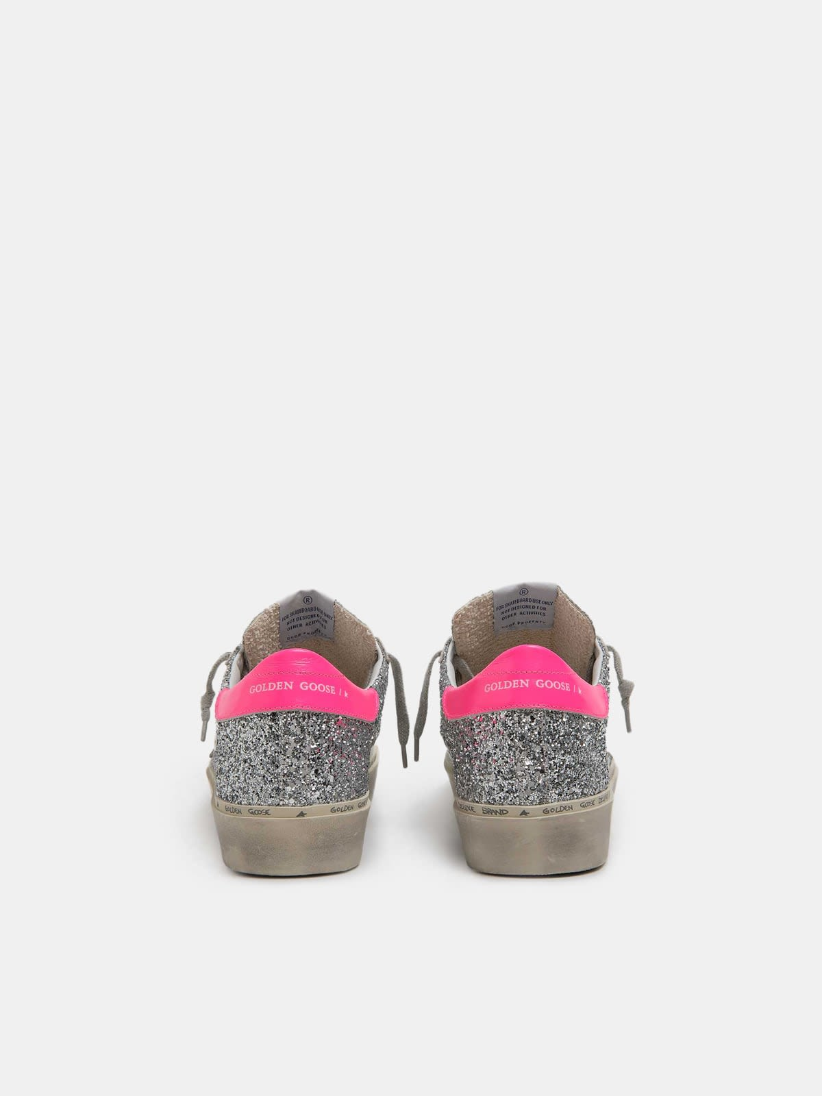 Hi Star sneakers with silver glitter and fuchsia heel tab